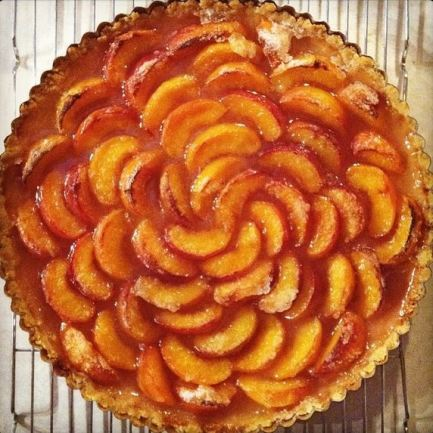 Peach tart using fresh peaches from the farmers market. This and the plum galette are my husband's favorites.