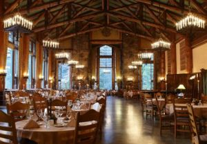 The dining room at the Ahwahnee Hotel in Yosemite Valley